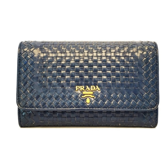 269a56143f9e Prada Madras Blue Wallet Woven Crossbody Bag